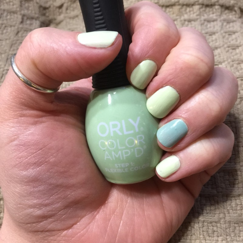 orly color apmd green and blue