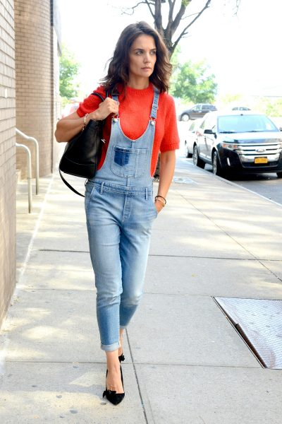 21b6787178c Celebrity Style  Katie Holmes in Denim Overalls - The Fashionable ...