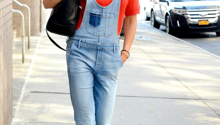 Celebrity Style: Katie Holmes in Denim Overalls