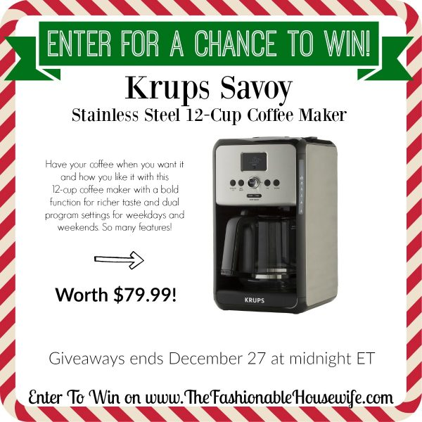 Enter To Win Krups Savoy Stainless Steel Coffee Maker worth $79! #12DaysofChristmasGiveaways