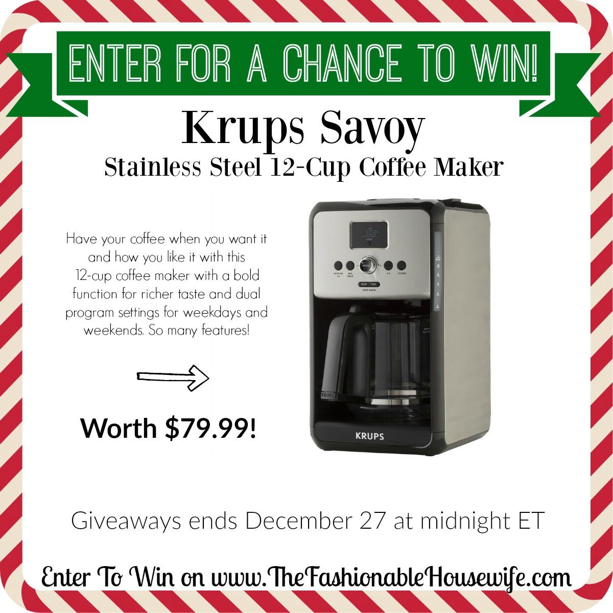 enter to win krups savoy coffee maker