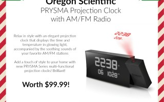 Enter To Win PRYSMA Projection Clock with AM/FM Radio! #12daysofchristmasgiveaways