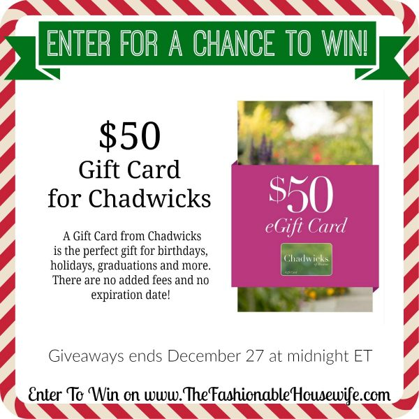 Enter To Win a Chadwicks $50 Gift Card! #12DaysofChristmasGiveaways
