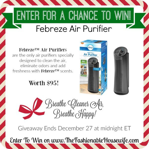 Enter To Win Febreze Tower Air Purifier worth $95! #12DaysofChristmasGiveaway