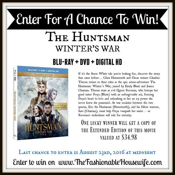 "Enter To Win ""The Huntsman: Winter's War"" Blu-Ray DVD GIVEAWAY! #TheHuntsman #WintersWar"