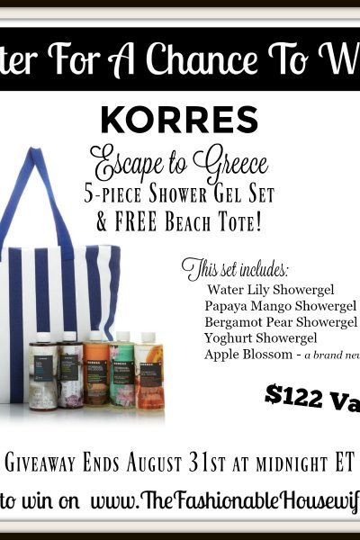 Enter for a chance to win a Korres 5 piece Showergel Set