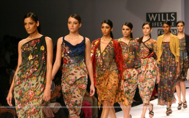 Models showcasing  designers Vineet Bahl,s  creations at the Wills Lifestyle India Fashion Week, in New Delhi, India.