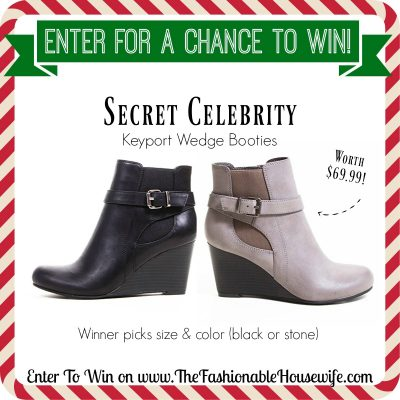 Enter To Win Secret Celebrity's KEYPORT Wedge Bootie worth $69! #12DaysofChristmasGiveaways