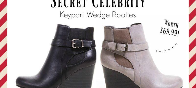 Enter To Win Secret Celebrity's KEYPORT Wedge Bootie worth $69! #12DaysofChristmasGiveaways