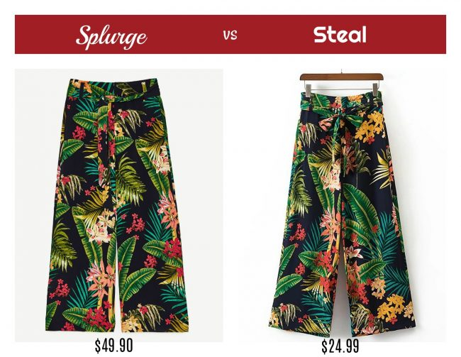 Splurge vs Steal – Tropical Print Pants