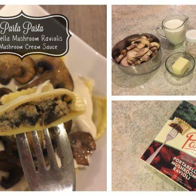 Portabella Mushroom Raviolis in Cream Sauce + Parla Pasta Giveaway!