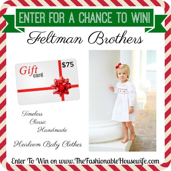 Enter To Win $75 Gift Card for Feltman Brothers Heirloom Baby Clothing