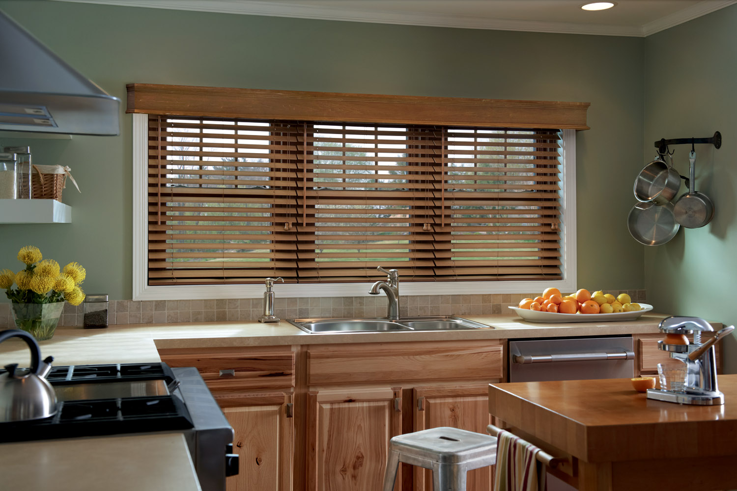 Roller Blinds And Wooden Shades