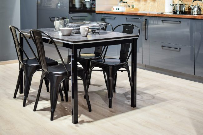 modern kitchen table with metal chairs
