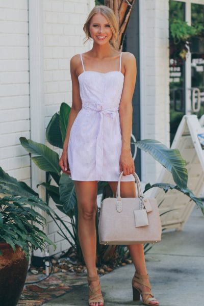striped button tank dress