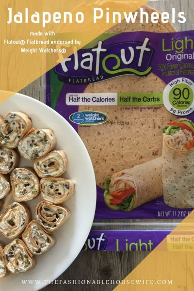 Jalapeno Pinwheels made with Flatout Flatbread Endorsed by Weight Watchers