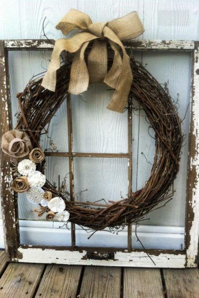 wreath on window decor